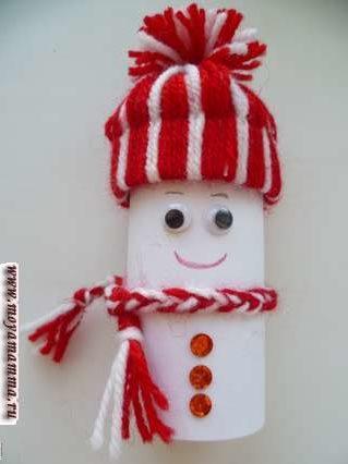 Снеговик из втулки. Оформление снеговика