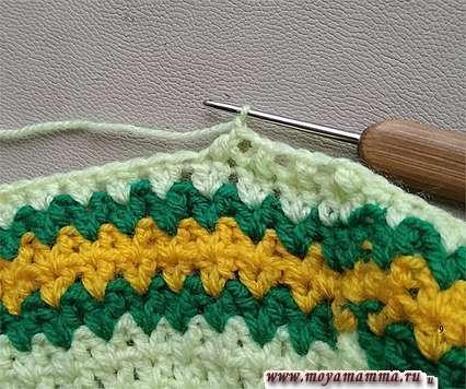 Вязание верха шапочки салатовой пряжей.