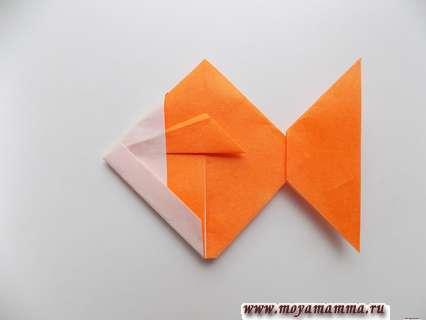 Рыбка оригами из бумаги. Формирование хвоста