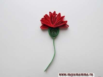 Гвоздика квиллинг. Приклеивание стебелька к нижней части цветка.