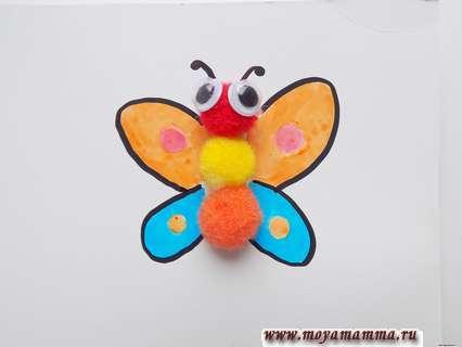 """Приклеивание бабочки и исование крылышек. Игра шнуровкак """"Превращение гусеницы в бабочку"""""""