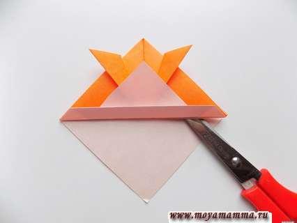 Рыбка оригами из бумаги. Хвостовой плавник.
