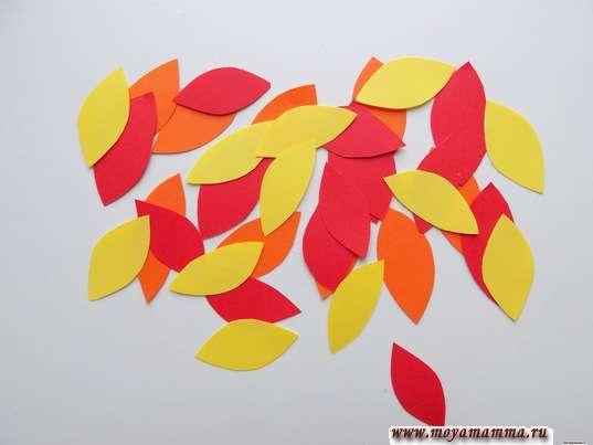 Аппликация листопад. Разноцветные листочки