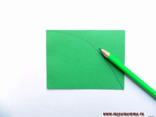 Заготовка для листа из зеленой бумаги