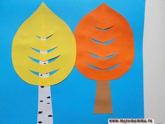Аппликация осенний лес. Приклеивание кроны березы