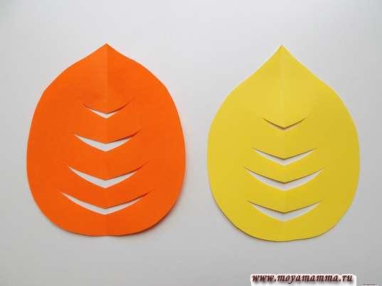 Аппликация осенний лес. Крона дерева из желтой и оранжевой бумаги