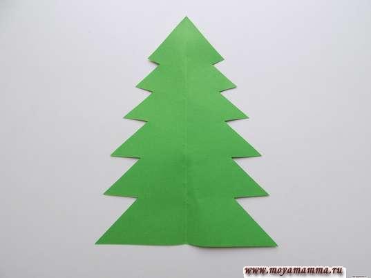 Елочка из зеленой бумаги