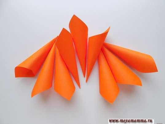 9 заготовок из оранжевой бумаги