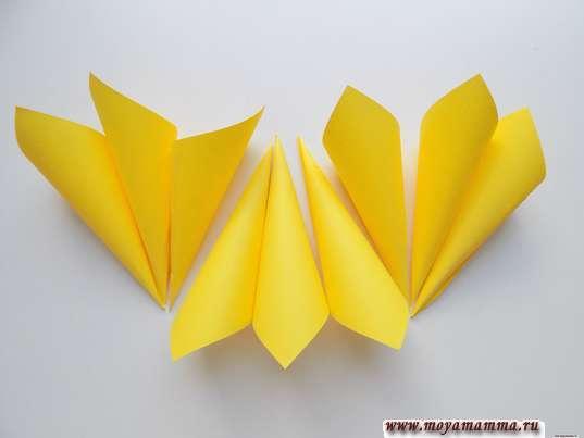 Аппликация осенний цветок. 9 заготовок из желтой бумаги