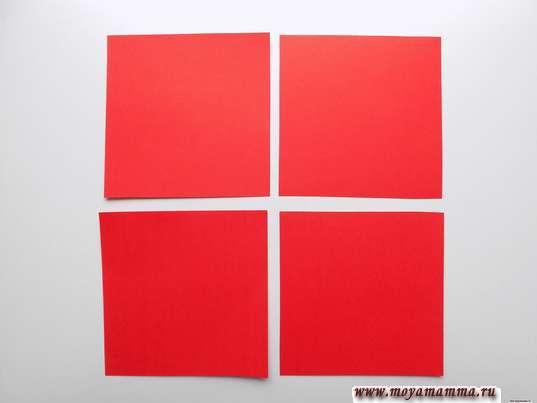 4 квадрата со стороной 10 см