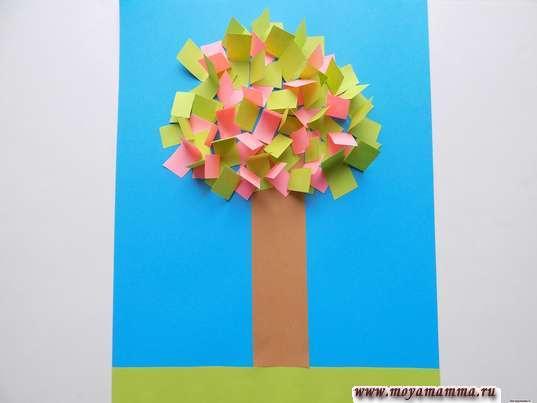 аппликация цветущее дерево