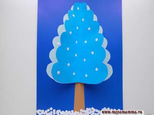 аппликация зимнее дерево