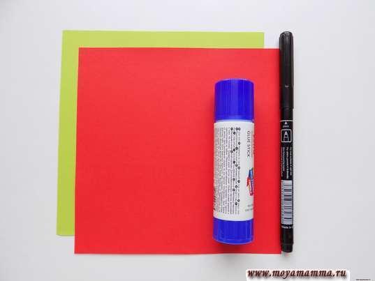 Цветная бумага, фломастер и клей