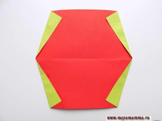 Оригами для малышей. Формирование корочки арбузной дольки