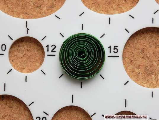 зеленую полоску скручиваем, формируя окружность диаметром 15 мм