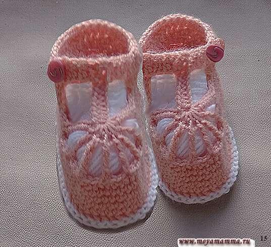 Нарядные туфельки крючком для девочки