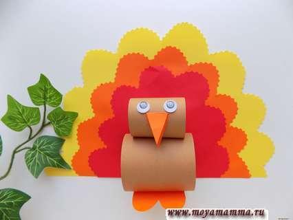Объемная птичка из цветной бумаги