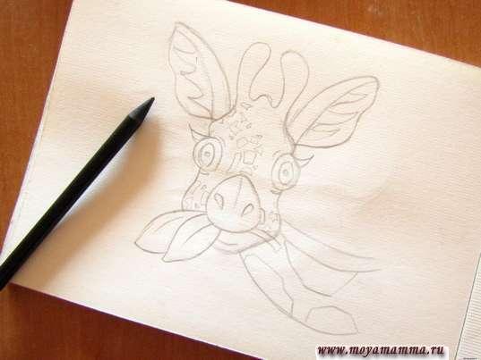 Рисование шеи и листиков
