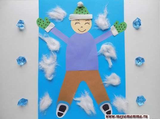 Аппликация Дети зимой