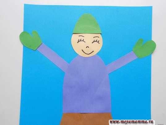 Аппликация Дети зимой. Приклеивание шапки и варежек