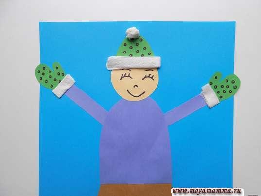 Аппликация Дети зимой. Украшение варежек и шапки