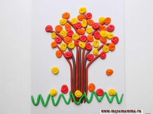 Аппликация из пластилина Осеннее дерево