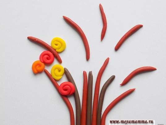 Аппликация из пластилина Осеннее дерево. Приклеивание листочков - спиралек
