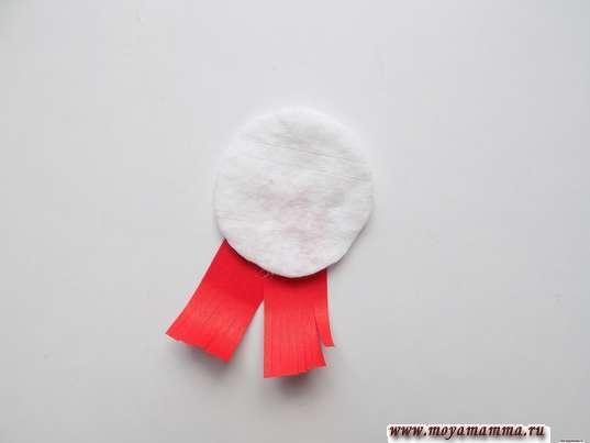 Аппликация из ватных дисков зима. Заготовка для головы снеговика с шарфиком