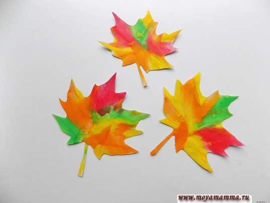 Осенние листья из пластилина