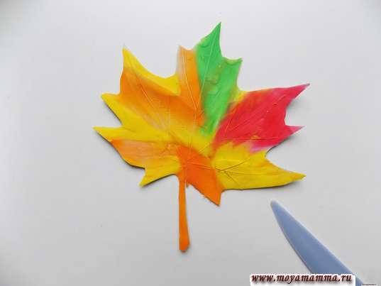 Аппликация Листья из пластилина. Рисование прожилок на листе