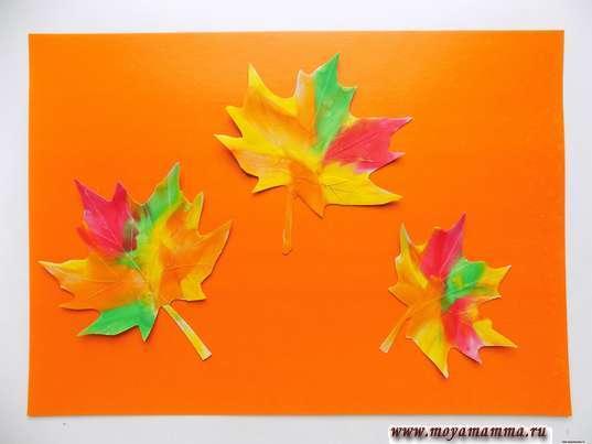 Аппликация Листья из пластилина