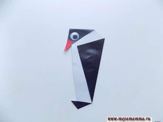 Аппликация Пингвины. Приклеивание клювика и глазика