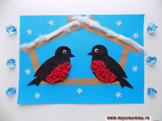 аппликация птицы зимой