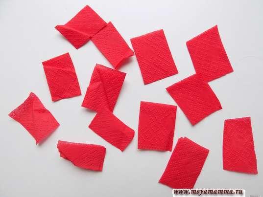 Заготовки из красной салфетки