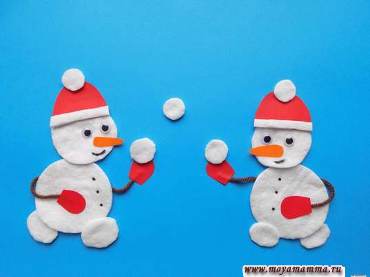 Аппликация Зимние забавы. Приклеивание снежков