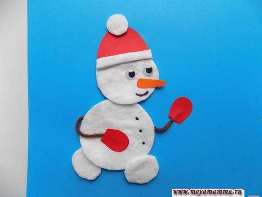 Аппликация Зимние забавы. Оформление мордочки снеговика
