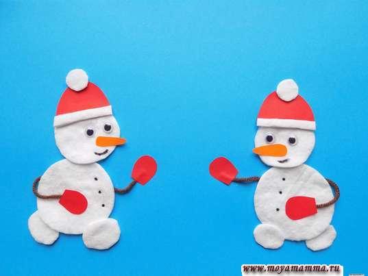 Аппликация Зимние забавы. Два снеговика на аппликации