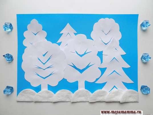аппликация Зимний лес
