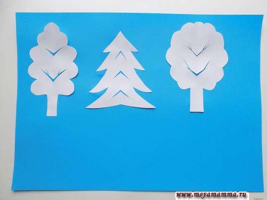 Аппликация Зимний лес. Деревья на аппликации