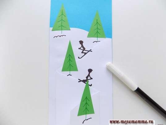 Аппликация Зимний спорт. Рисование лыжников