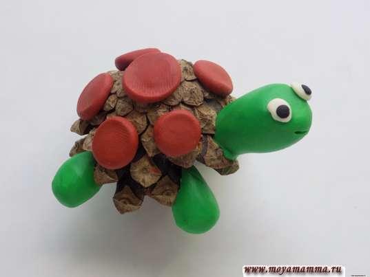 Черепаха из шишки