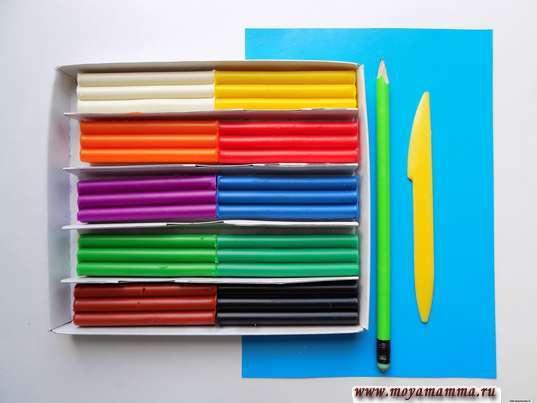 Пластилин, стека, цветная бумага, карандаш