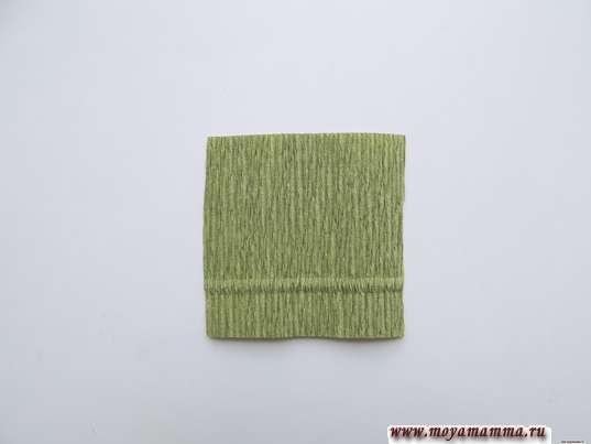 квадрат из зеленой гофрированной бумаги