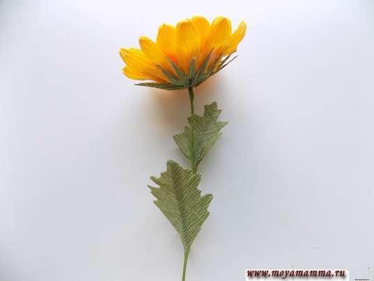 Хризантема из гофрированной бумаги. Формирование стебля