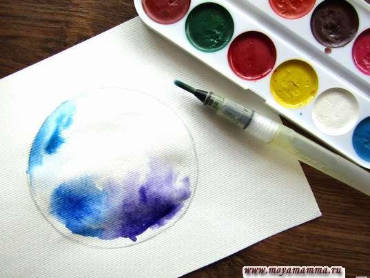 Нанесение синего и фиолетового тонов на рисунок