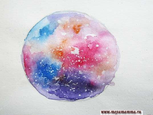 Рисунок Космос акварелью