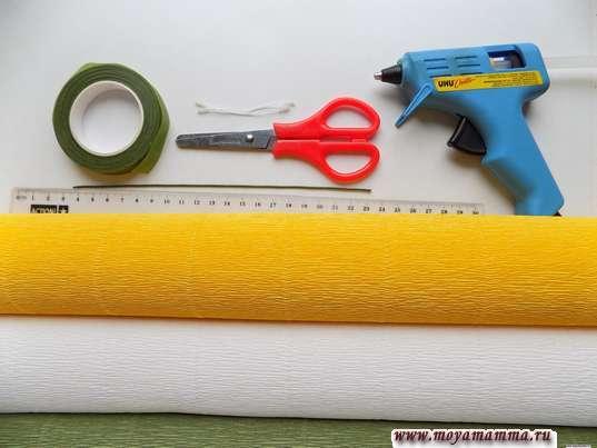 Гофрированная бумага, ножницы, флористическая лента, термопистолет, линейка