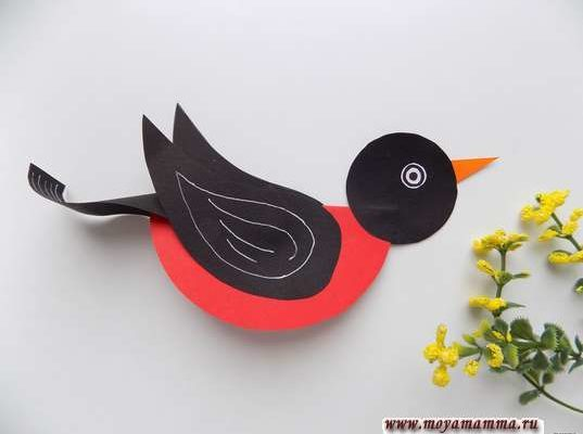 объемная птичка из бумаги