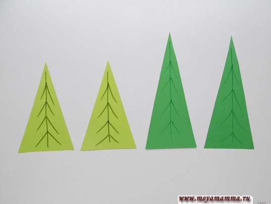 Елочки из зеленой бумаги разного оттенка