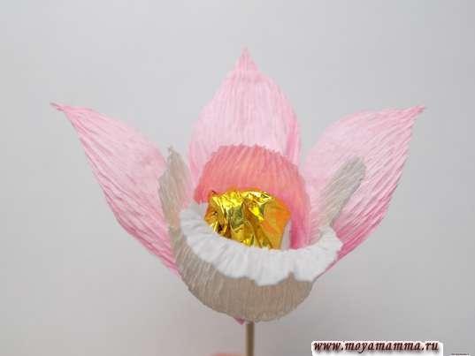 Орхидея из гофрированной бумаги. Закрепление розовых лепестков